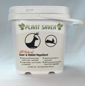 25 lb. tub of Plant Saver Deer & Rabbit Repellent with 100 refillable bags